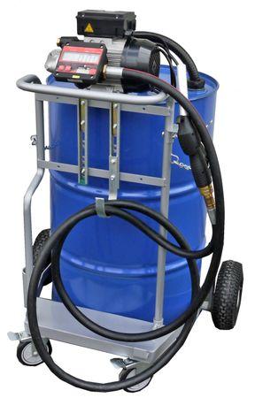 Fahrwagen für 200 Liter Fass, 230V Elektropumpe Viscomat 90, geeignet zur Förderung dünnflüssiger Mineralöle, 4m Schlauch, Digitalzählwerk, Ölpistole, Förderleistung max. 50 l/min.