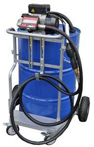 Fahrwagen für 200 Liter Fass, 230V Elektropumpe Viscomat 90, geeignet zur Förderung dünnflüssiger Mineralöle, 4m Schlauch, Digitalzählwerk, Ölpistole, Förderleistung max. 50 l/min. 001