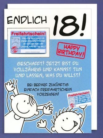 Riesen Grußkarte 18 Geburtstag Humor XXL Accessoires Freifahrtschein Scheckkarte A4