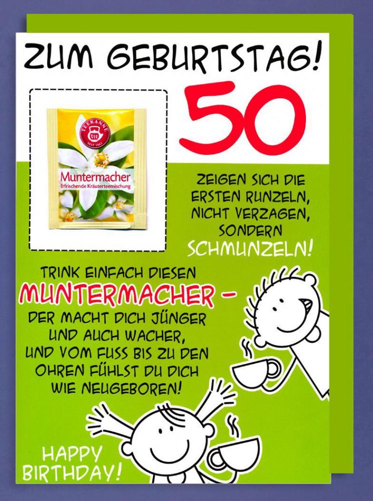 Riesen Grußkarte 50 Geburtstag Humor AvanFriends XXL Accessoires Muntermacher Kräutertee A4