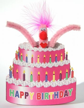 Pop Up Geburtstag ZZ Design Grußkarte PopShot Happy Birthday Torte pink 16x16cm
