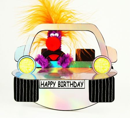 Pop Up Geburtstag ZZ Design Grußkarte PopShot Happy Birthday silbernes Auto 16x16cm