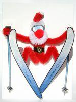 Pop Up Weihnachten ZZ Design Grußkarte PopShot Santa Claus auf Skier 13x18cm