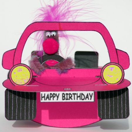 Pop Up 3D Geburtstag ZZ Design Grußkarte PopShot Happy Birthday Auto pink 16x16cm