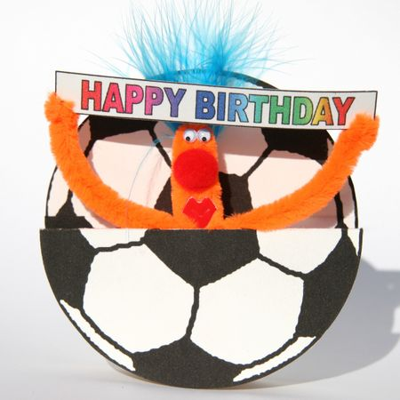 Pop Up 3D Geburtstag ZZ Design Grußkarte PopShot Happy Birthday Fußball 16x16cm
