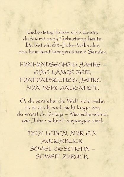 Grußkarte Urkunde Zum 65. Geburtstag herzliche Glückwünsche A5