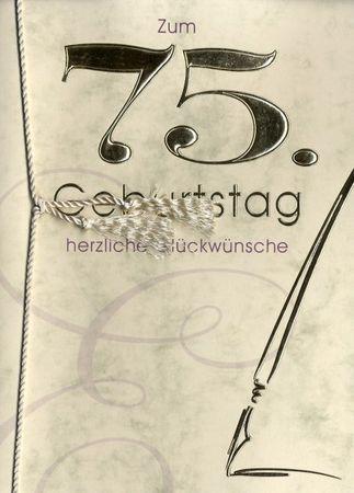 Grußkarte Urkunde Zum 75. Geburtstag herzliche Glückwünsche A5