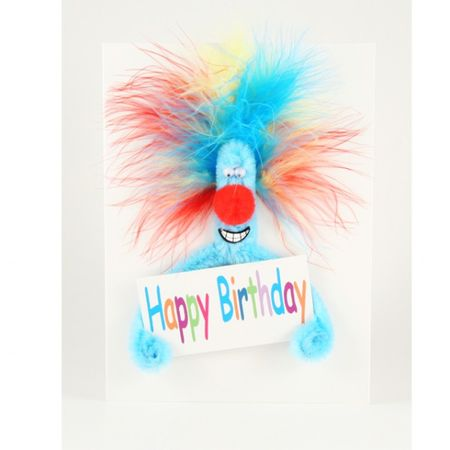 Pop Up 3D Geburtstag ZZ Design Grußkarte PopShot Happy Birthday Blauer Schreck 13x16cm
