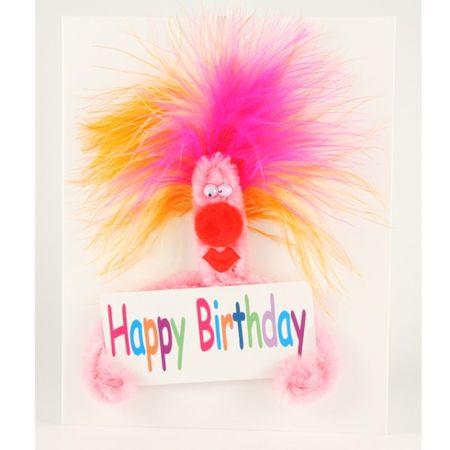 Popup Geburtstagskarte Happy Birthday Schreck in Pink ZZ Rock it 16x16 cm