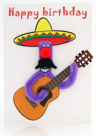 Pop Up 3D Geburtstag ZZ Design Grußkarte PopShot Happy Birthday Mexican Gitarrist 13x18cm