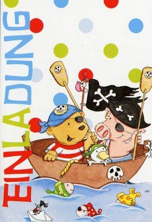 Einladungskarte Kinder Geburtstag Packungsware Piraten Inhalt 5 Karten
