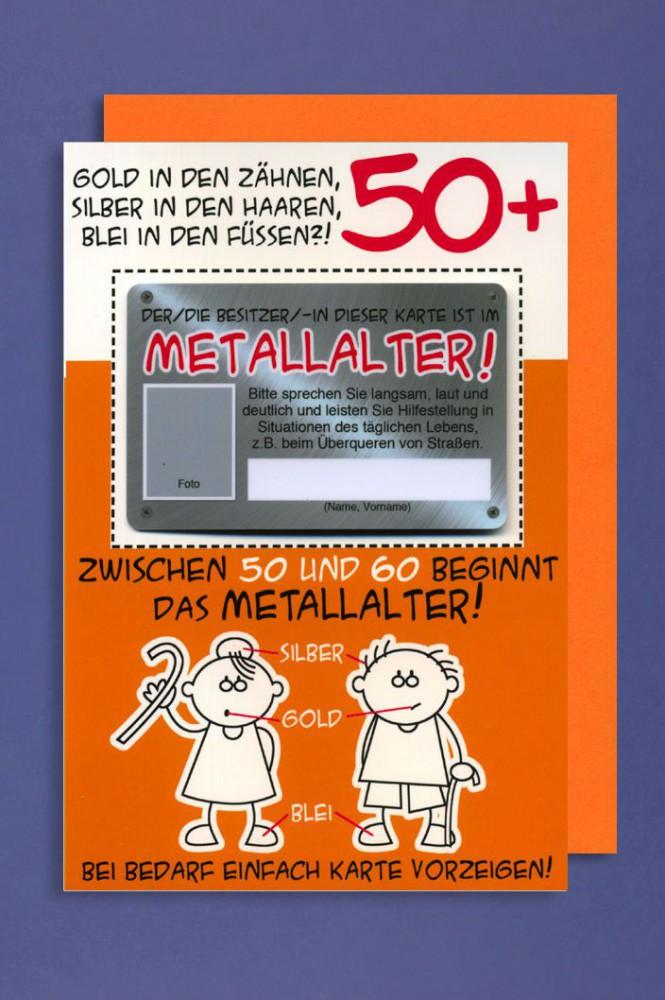 Grusskarte 50 Geburtstag Karte Humor Applikation Scheckkarte