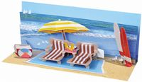 Pop Up Geburtstag Karte 3D Badeurlaub Panorama 10x23 cm