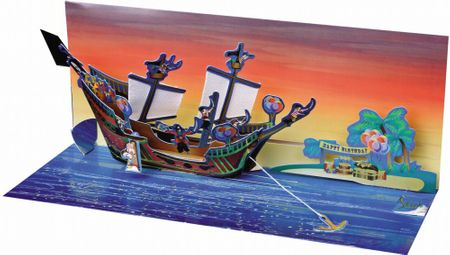 Pop Up Geburtstag Karte 3D Kinder Piraten Panorama 10x23 cm