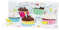 Pop Up Geburtstag Karte 3D Kuchen Panorama 10x23 cm