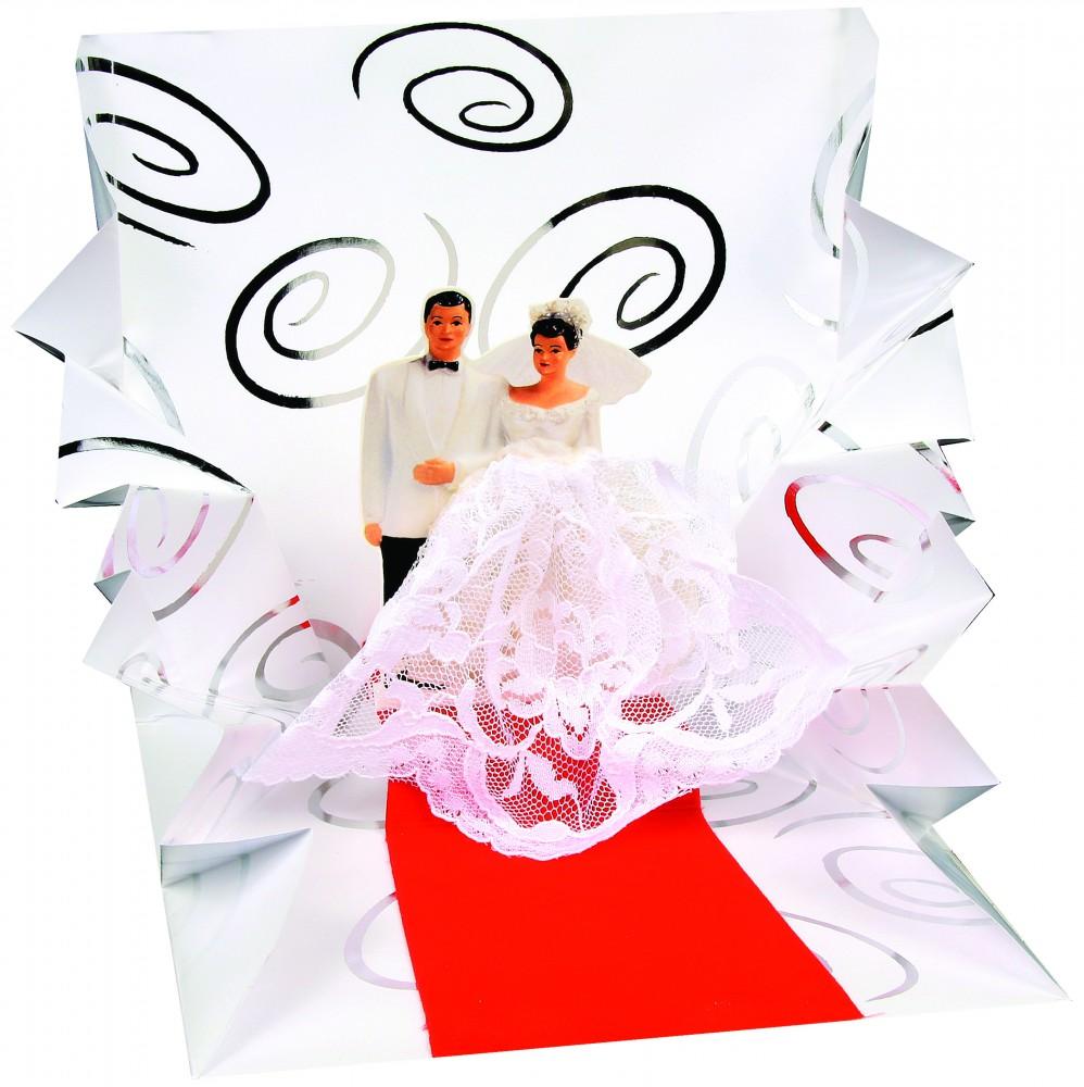Pop Up 3D Hochzeit  Grußkarte PopShot Brautpaar Congratulations 13x13cm