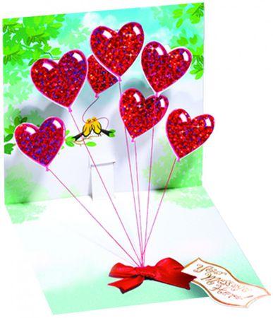 Valentinstag Pop Up 3D Geburtstag Hochzeit Grußkarte PopShot Herzballons 13x13cm