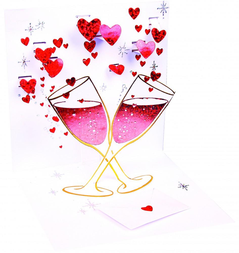 Pop Up 3D Hochzeit Feier Geburtstag Junge Grußkarte PopShot Rote Champagner Flöten 13x13cm