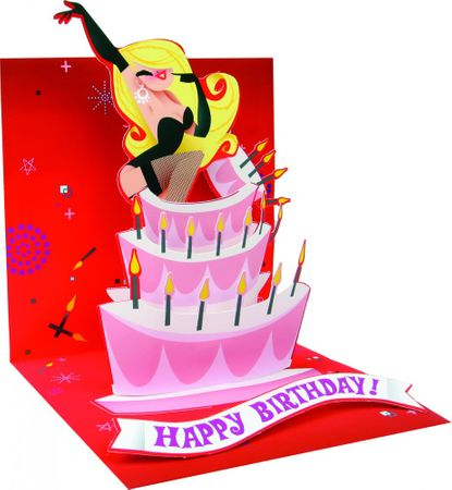 Pop Up 3D Geburtstag Grußkarte PopShot Happy Birthday Lady Überraschung 13x13cm