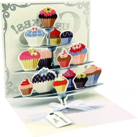 Pop Up 3D Geburtstag Liebe Grußkarte PopShot Torten Kuchenbuffet 13x13cm