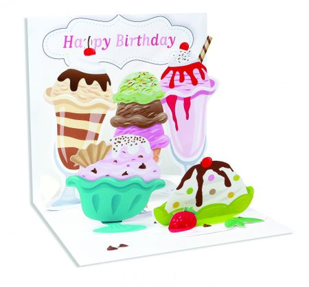 Pop Up 3D Geburtstag Grußkarte PopShot Happy Birthday viel Eiscreme 13x13cm