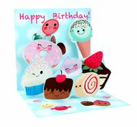 Pop Up 3D Geburtstag Grußkarte PopShot Happy Birthday Viel Süsses 13x13cm