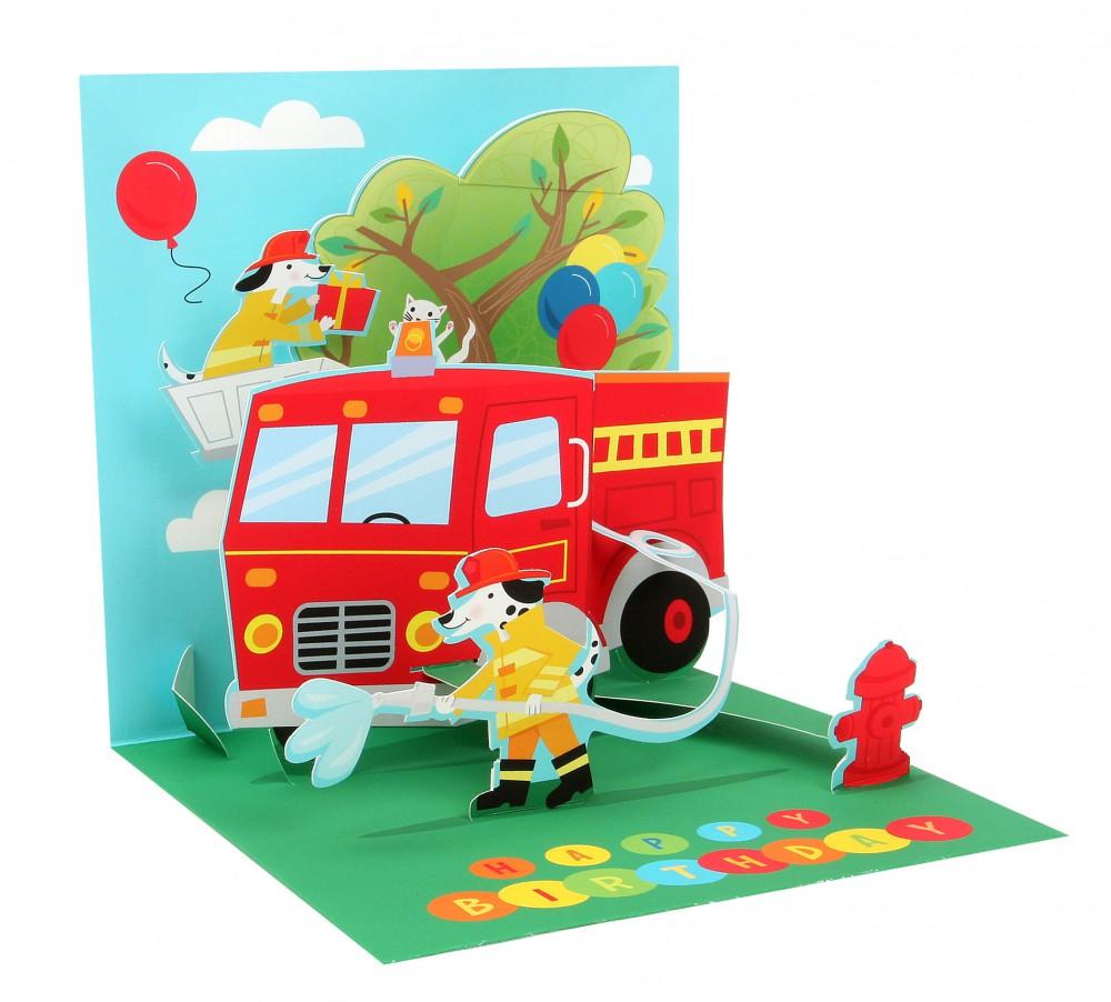 Pop Up 3D Geburtstag Kinder Grußkarte PopShot Happy Birthday Feuerwehrauto 13x13cm