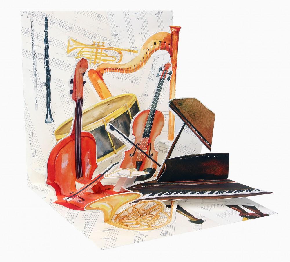 Pop Up 3D Geburtstag Liebe Glückwunsch Grußkarte PopShot Klassische Musik 13x13cm