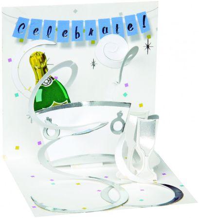 Pop Up 3D Geburtstag Mini Grußkarte PopShot Champagner Feier Celebrate 7,6x7,6cm