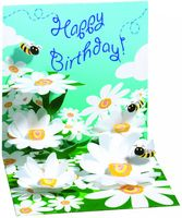 Pop Up 3D Geburtstag Mini Grußkarte PopShot Happy Birthday Bienen in Blumen 7,6x7,6cm