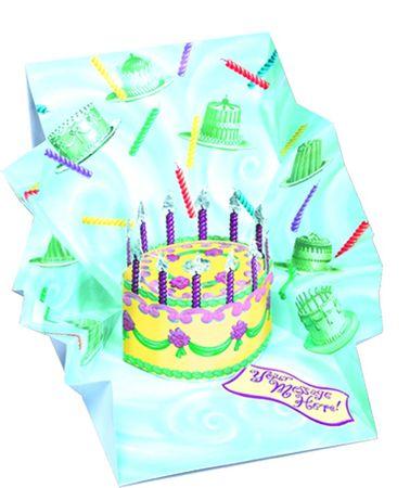 Pop Up 3D Geburtstag Mini Grußkarte PopShot Happy Birthday Geburtstagskuchen 7,6x7,6cm