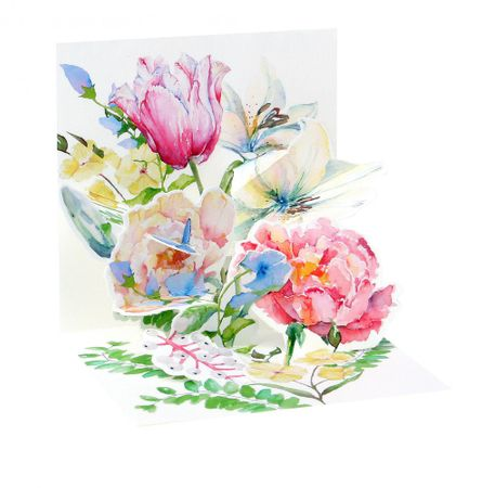Pop Up 3D Geburtstag Mini Grußkarte PopShot Wasserfarben Blumen 7,6x7,6cm