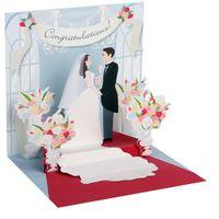 Pop Up 3D Hochzeit Mini Grußkarte PopShot Braut und Bräutigam 7,6x7,6cm