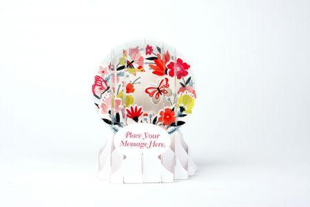 Pop Up 3D Geburtstag Schneekugel Grußkarte PopShot Frühlingsstrauß Blumen 9x13cm