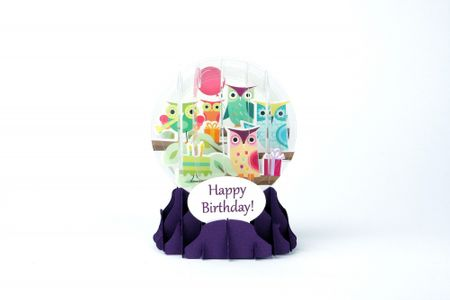 Pop Up 3D Geburtstag Schneekugel Grußkarte PopShot Happy Birthday Eulen 9x13cm