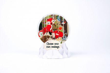 Pop Up 3D Geburtstag Schneekugel Grußkarte PopShot Fuchs im Wald 9x13cm