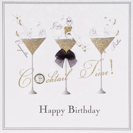 Swarovski Elements Geburtstag Grußkarte Handmade PopShot Cocktail Gläser Happy Birthday 16x16cm