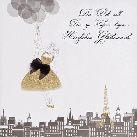 Swarovski Elements Geburtstag Grußkarte Handmade PopShot Mädchen mit Ballon Glückwunsch 16x16cm