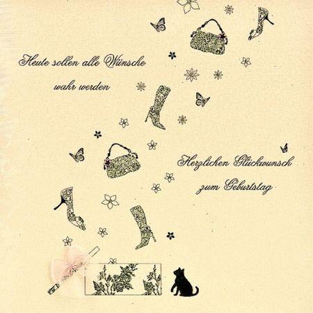 Swarovski Elements Geburtstag Grußkarte Handmade PopShot Handtasche Stiefel Glückwunsch 16x16cm