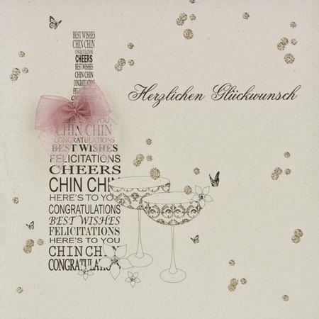 Swarovski Elements Geburtstag Grußkarte Handmade PopShot Flasche Cheers Herzlichen Glückwunsch 16x16cm