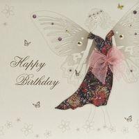 Swarovski Elements Geburtstag Grußkarte Handmade PopShot Birthday Traumfee lila Kleid 16x16cm