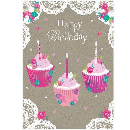 Swarovski Elements Geburtstag Grußkarte Handmade PopShot Birthday Muffins 12x17 cm