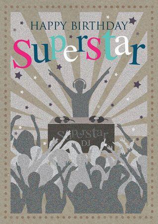 Swarovski Elements Geburtstag Grußkarte Handmade PopShot Birthday Superstar 12x17 cm