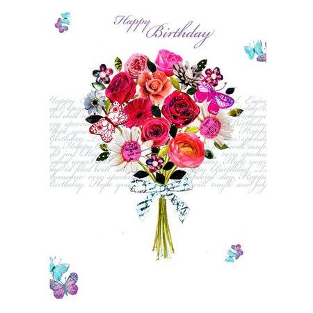 Swarovski Elements Geburtstag Grußkarte Handmade PopShot bunter Blumenstrauß 12x17 cm