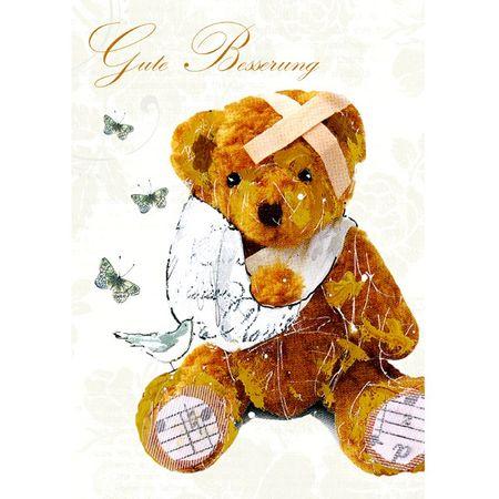 Swarovski Elements Besserung Grußkarte Handmade PopShot Teddybär Gesundheit 21x16cm