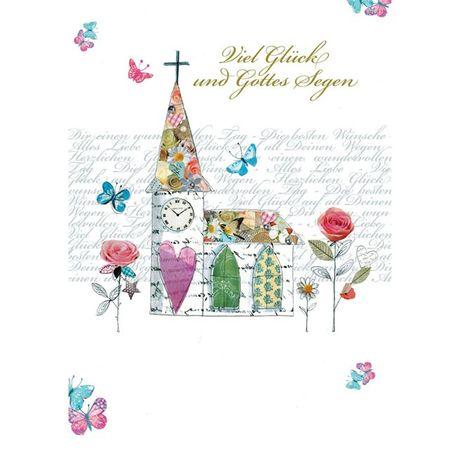 Swarovski Elements Geburtstag Grußkarte Handmade PopShot Hochzeit Kirche 21x16cm