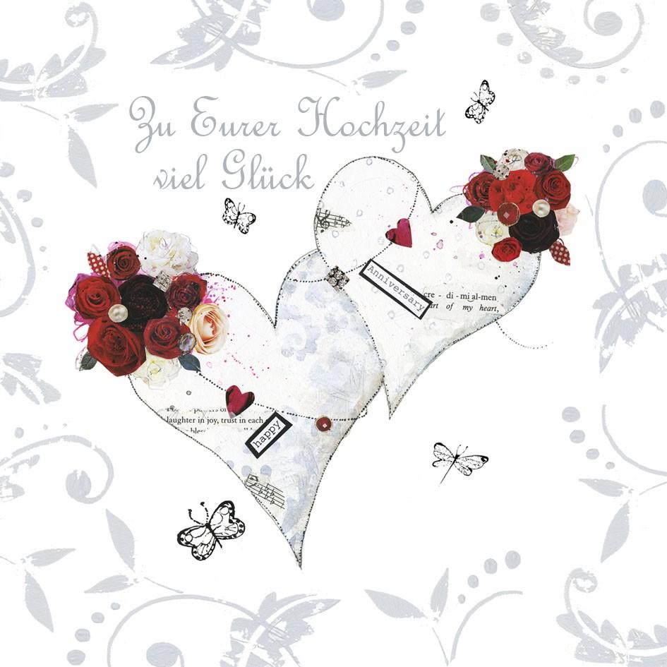 Swarovski Elements Hochzeit Grusskarte Handmade Popshot Zwei Herzen