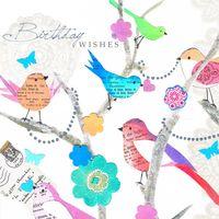 Swarovski Elements Geburtstag Grußkarte Handmade PopShot Glückwunsch Vögel 8x8cm