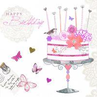 Swarovski Elements Geburtstag Grußkarte Handmade PopShot Happy Birthday 8x8cm Kuchen