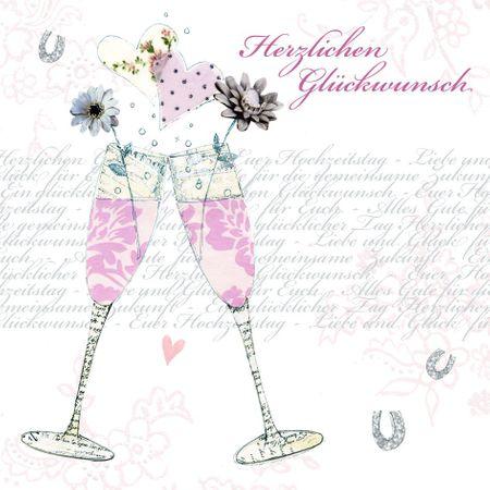 Swarovski Elements Geburtstag Grußkarte Handmade PopShot Hochzeit 2Sektgläser 8x8cm